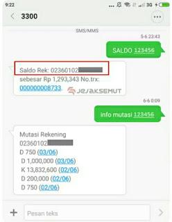 cek no rekening bri lewat sms banking