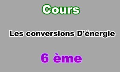 Cours de Conversions d'Energie 6eme en PDF