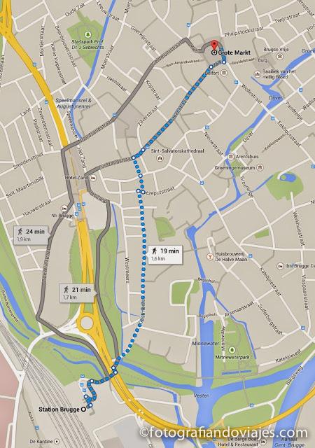 plano de como llegar desde la estación al centro de Brujas