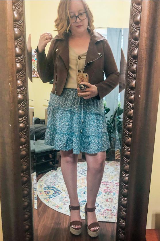 faux-suede-jacket-blue-floral-skirt-brown-wedges