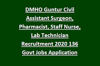 DMHO Guntur Civil Assistant Surgeon, Pharmacist, Staff Nurse, Lab Technician Recruitment 2020 136 Govt Jobs Application Form