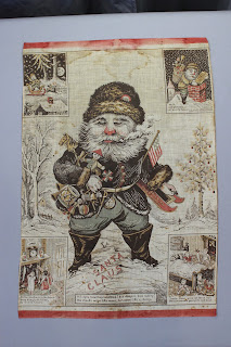 Preservation of textiles, Patriotic Santa Claus from Oriental Print Works, 1868 textile, antique, conservation, textile expert, repair, cleaning, framing, mounting, preservation, stabilization, of historic fabric
