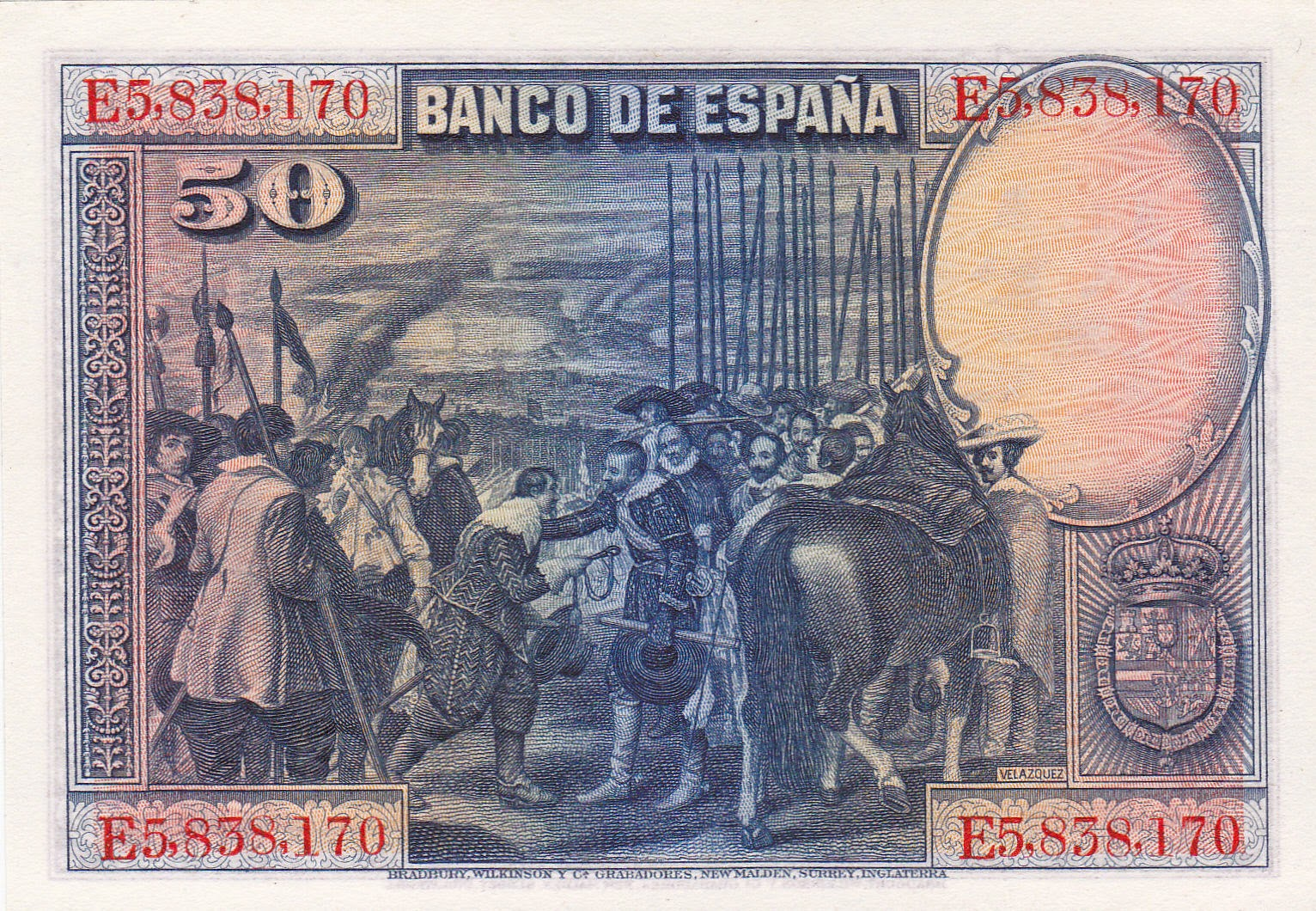 Spain money currency 50 Pesetas banknote 1928 Surrender of Breda painting by the Spanish Golden Age painter Diego Velazquez