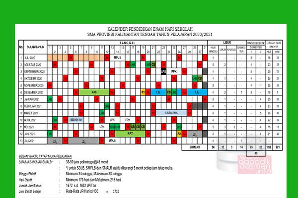 Anda Mencari Kalender Pendidikan Provinsi Kalimantan Tengah Tahun Pelajaran 2020-2021? Kaldik Kalteng Tapel 2020/2021 bisa didownload dengan mudah disini