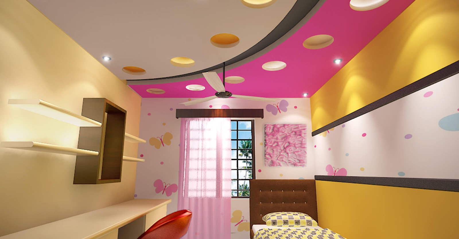 Top 25 false ceiling design options for kids rooms 2018 for Lighting for kids room