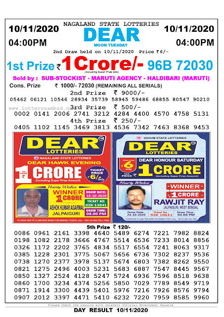 Lottery Sambad Result 10.11.2020 Dear Moon Tuesday 4:00 pm