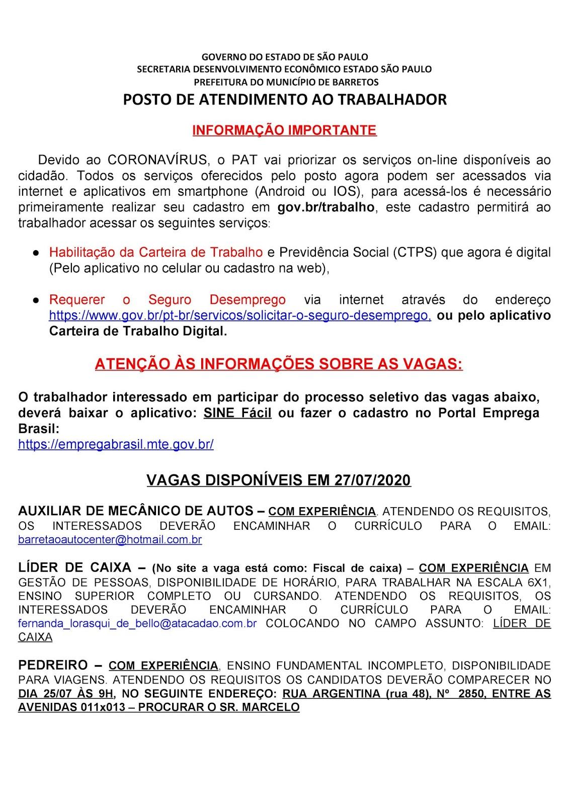 VAGAS DE EMPREGO DO PAT BARRETOS-SP PARA 27/07/2020 PUBLICADAS NA TARDE DE 24/07/2020 - PAG. 1