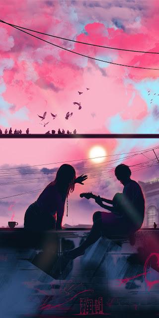 Pink sky, couple, love, bird, sunset