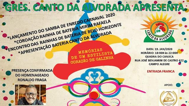 Lançamento do samba enredo da Escola de Samba Canto da Alvorada dia 19 de janeiro