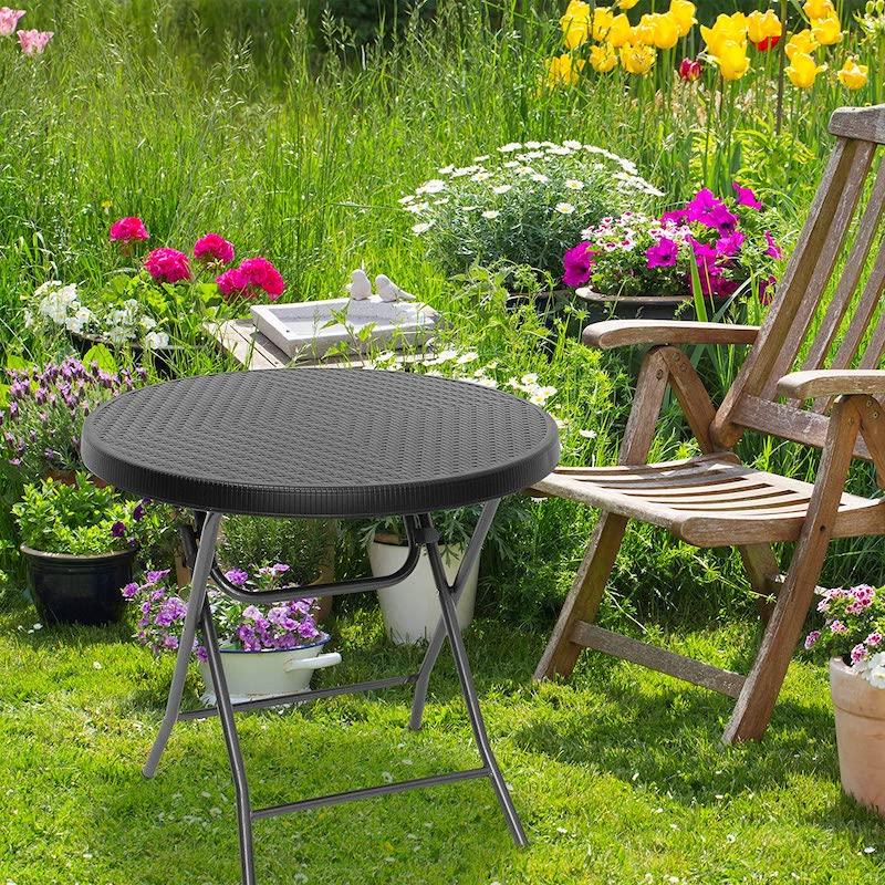 Mesa pequeña de jardín redonda plegable