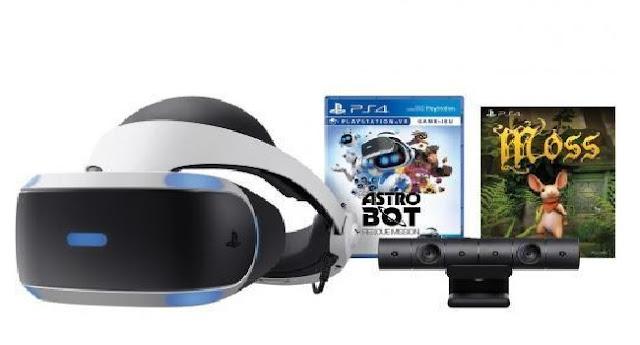 حزمة متكونة من نظارات الواقع الافتراضي PlayStation VR ولعبة Astrobot و Moss وكذلك كاميرا PlayStation VR عليها تخفيض بقيمة 80 دولار