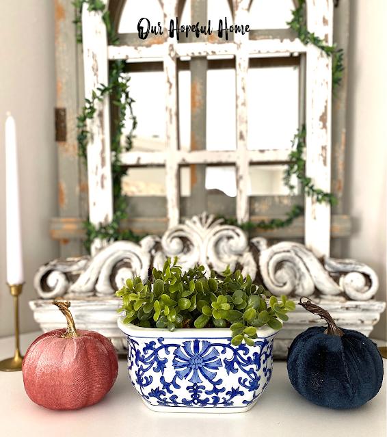 pink blue velvet pumpkins mantel decor