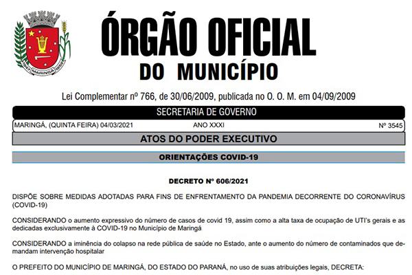 Decreto 606/2021 foi publicado no OOM desta quinta (4)
