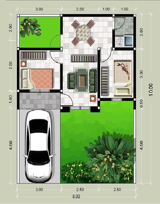 gambar denah rumah minimalis type 21 3