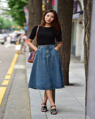 outfits casual midi skirt danim