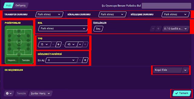 fm oyuncu arama filtresi