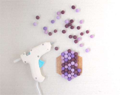 Felt Pom Pom Coasters // Benzie Design