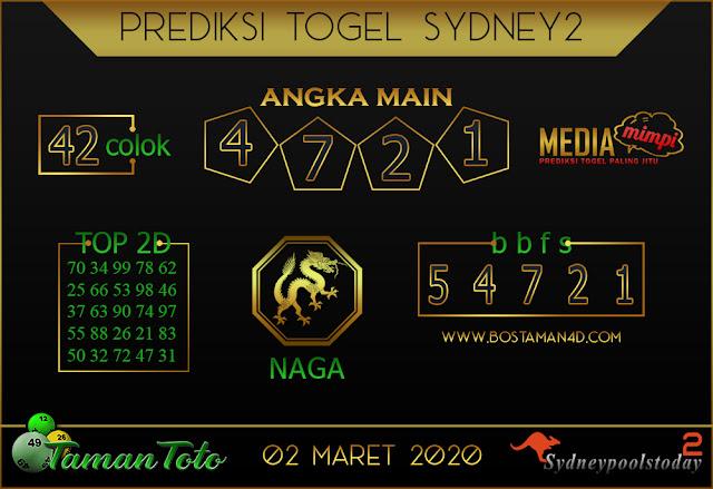 Prediksi Togel SYDNEY 2 TAMAN TOTO 01 MARET 2020