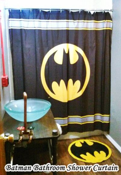 Batman bathroom set Shower Curtain and Rug