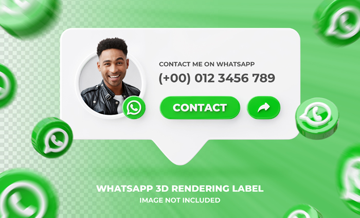 Banner Icon Profile Whatsapp 3D Rendering Label Template
