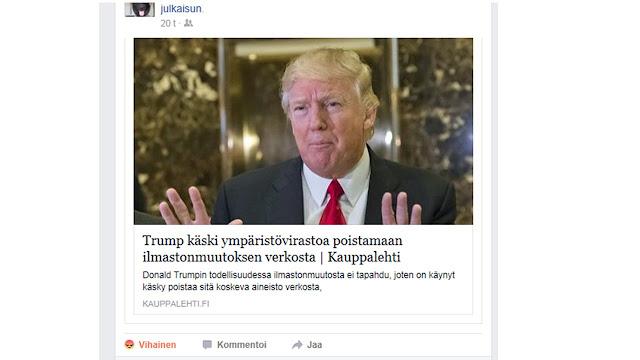 """Kuvakaappaus nettiuutisesta, jossa sanotaan """"Trump käski ympäristövirastoa poistamaan ilmastonmuutoksen verkosta"""""""