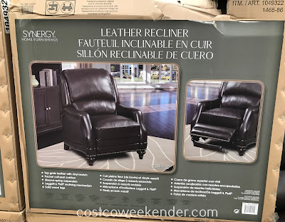 Costco 1049322 - Take a load off on the Synergy Home Furnishings Leather Recliner