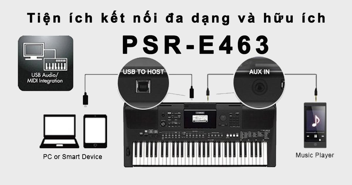 PSR-E463 tự hào là cây đàn Organ dòng E có các tính năng tiên tiến nhất, thiết kế gọn nhẹ, hiện đại và giá cả rất phải chăng