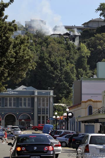 10:16am House fire in Cameron Rd, Napier. photograph