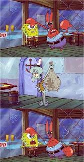 Polosan meme spongebob dan patrick 158 - spongebob menghancurkan uang karungan milik tuan krab