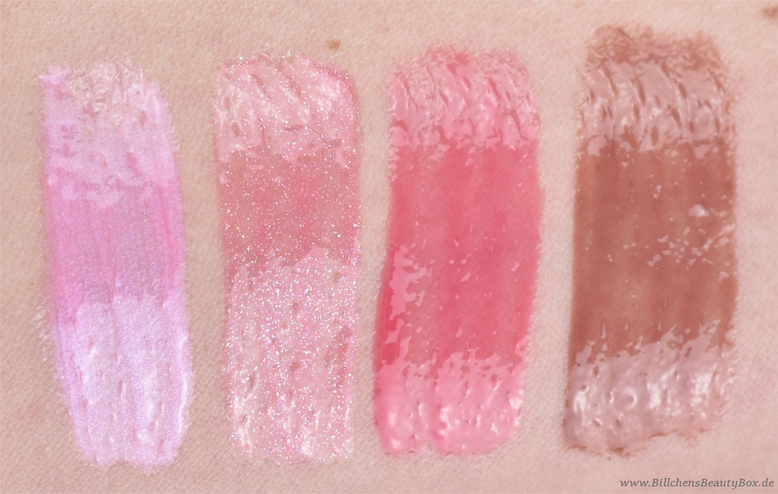 essence - shine shine shine Lipgloss - smile, sparkle, shine - friends of glamour - flirt alert - so into it - Swatches