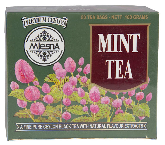 Mlesna Pure Ceylon Mint Black Tea with Mint Natural Extract 50 Tea Bags (100g) 1 Box.