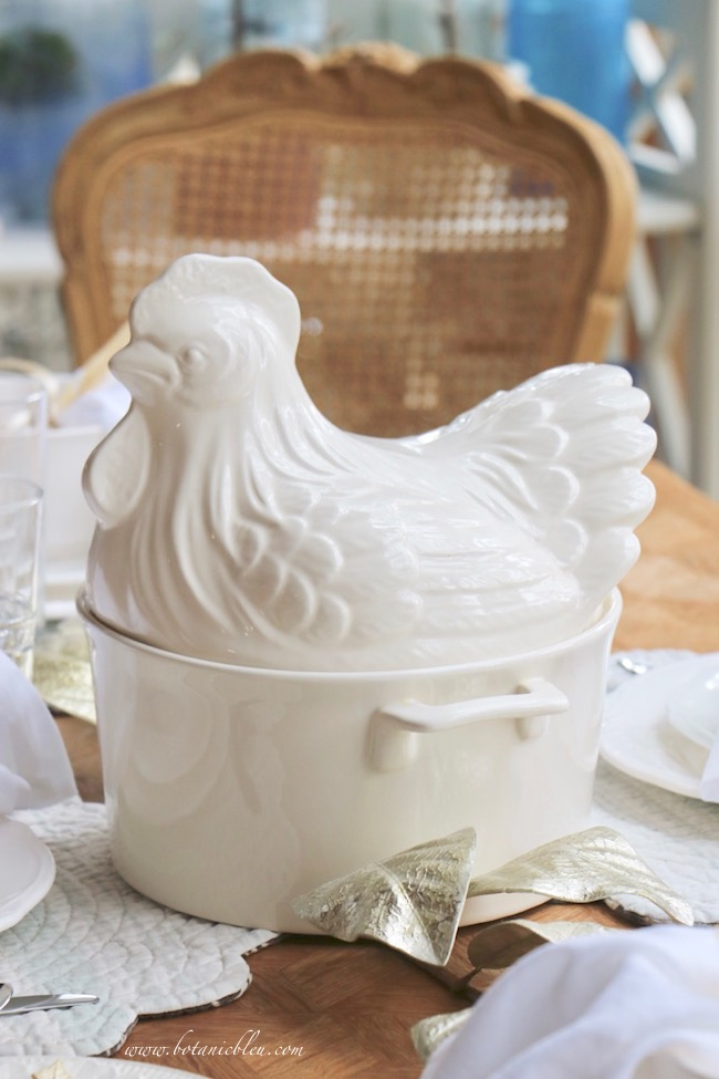 French Country Thanksgiving white rooster soup tureen