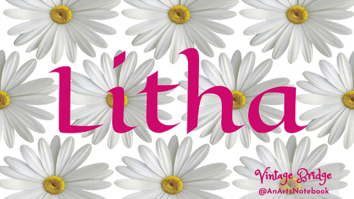 a facebook banner graphic with daisies svg images in the background and the word Litha in celtic looking letting in green in the forefront with Vintage Bridge @AnArtsNotebook imprint in the corner