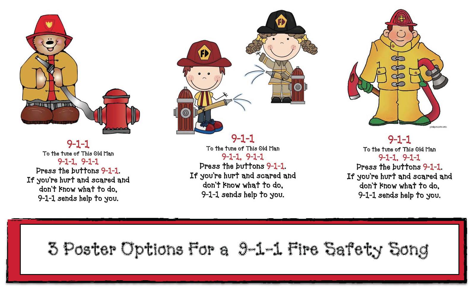9 1 1 Fire Safety Song Posters