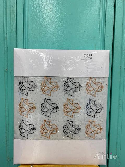 Pelekat hotfix sticker rhinestone DMC aplikasi tudung bawal fabrik pakaian corak bunga sekuntum