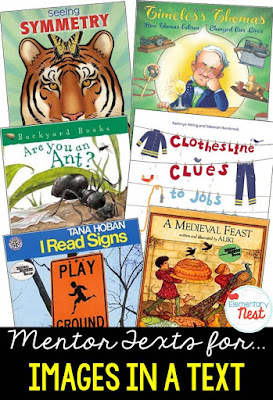 Primary informational mentor text suggested book list for using images in a nonfiction text to further understand the text- RI.1.7, RI.2.7, RI.3.7