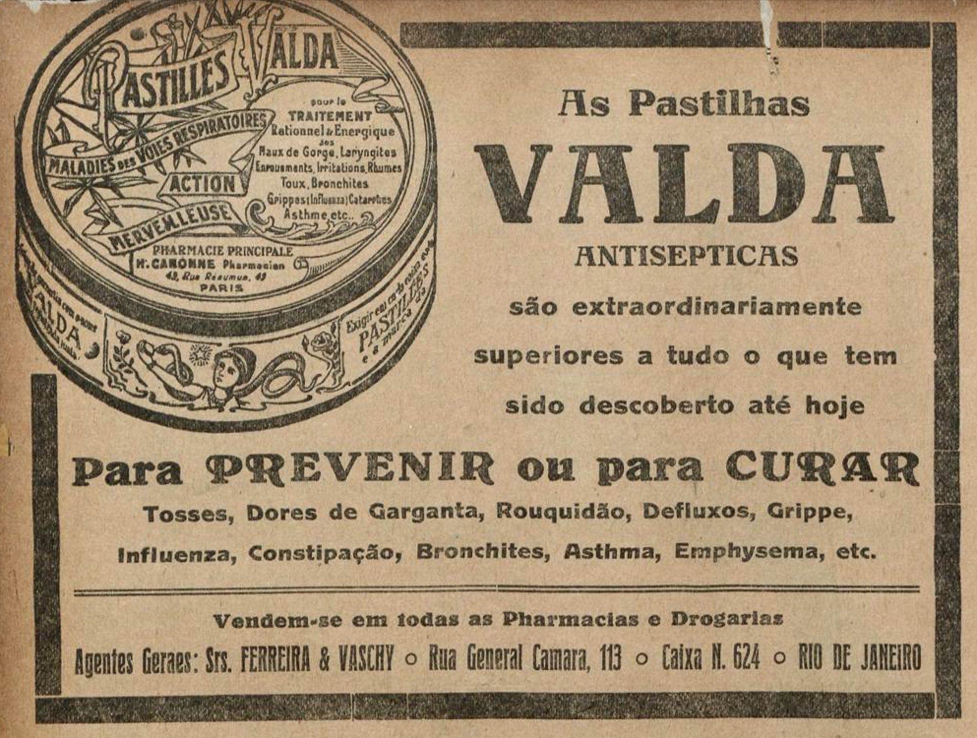 Anúncio antigo das famosas Pastilhas Valda para fins medicinais