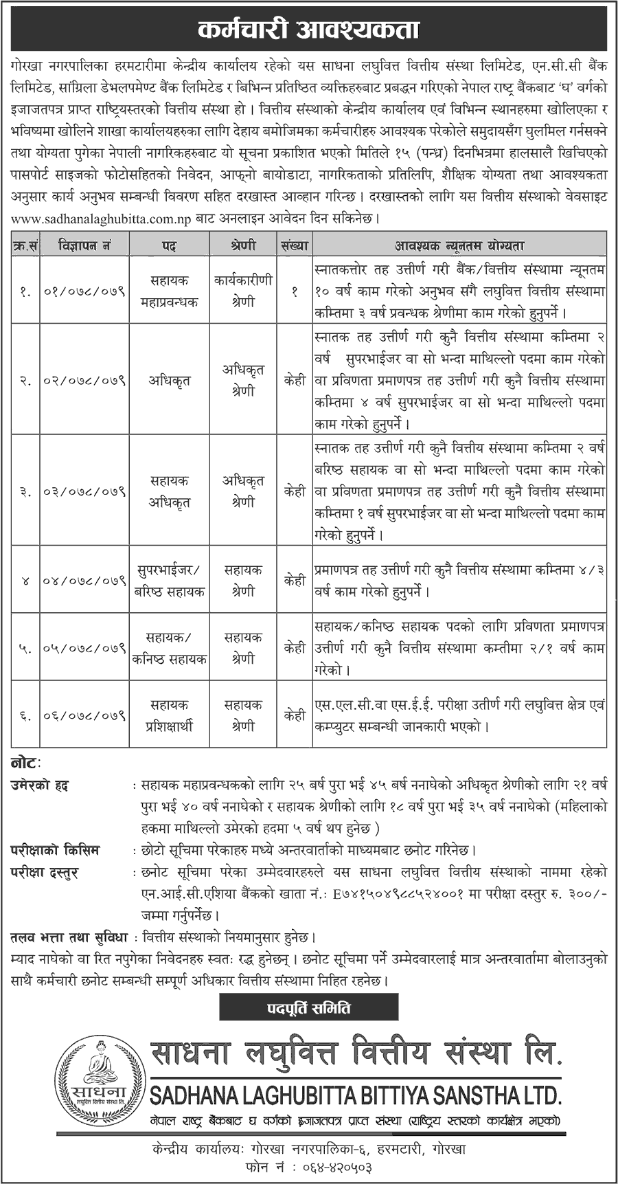 Sadhana-Laghubitta-Bittiya-Sanstha-Limited-Announces-Job-Vacancy-for-Various-Positions