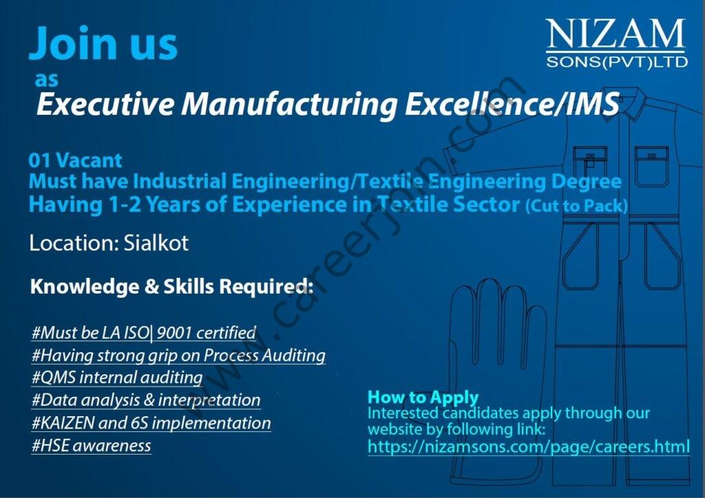 Nizam Sons Pvt Ltd Jobs Executive Manufacturing Excellence/IMS