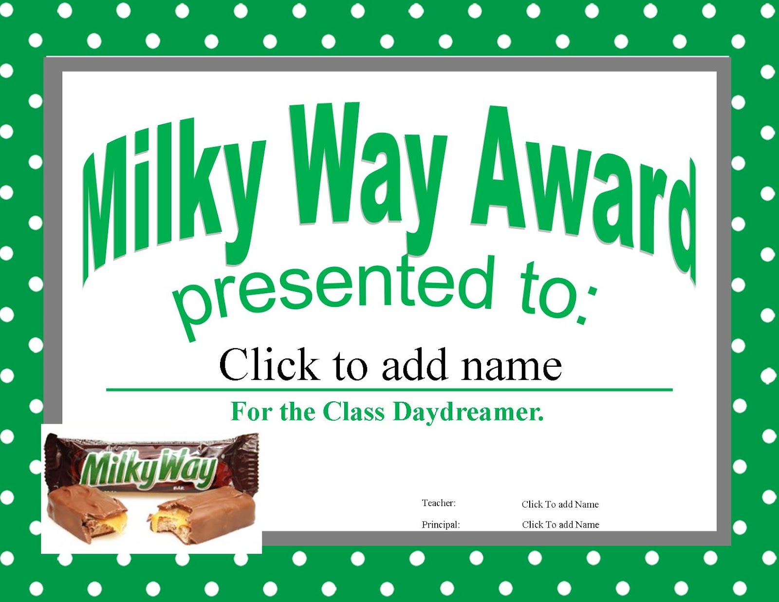 Candy Bar Awards For Students Free Printables