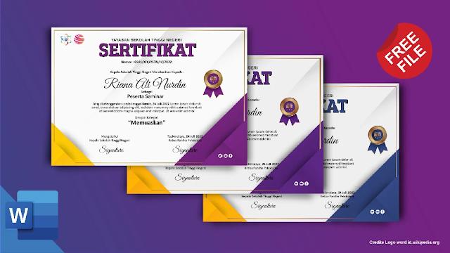 Download Kumpulan Contoh Sertifikat Seminar Dan Pelatihan Mircrosoft Word