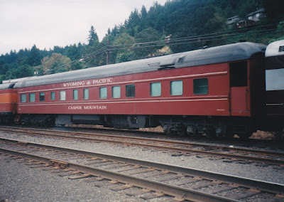 "Wyoming & Pacific Business Car #35 ""Casper Mountain"" in Linnton, Oregon, on August 23, 1998"