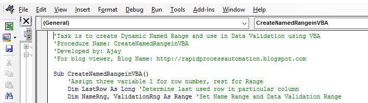 Dynamic Named Range using VBA in Excel - Tactical Process