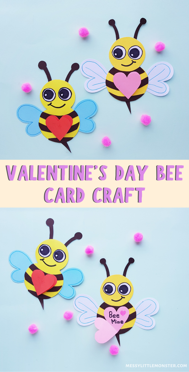 Easy Valentine craft for kids. 'Bee Mine' paper bee craft with printable bee template.