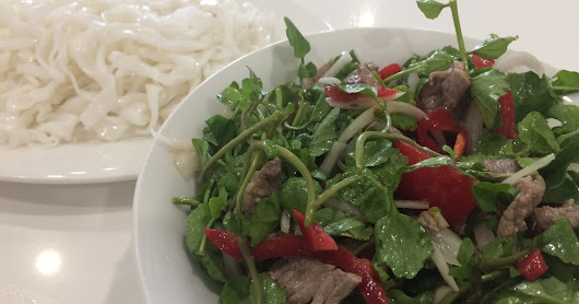 Brekky: fresh rice noodle with vietnamese beef watercress salad