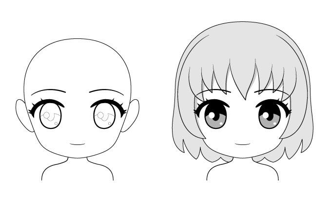 Ekspresi wajah anime chibi yang normal
