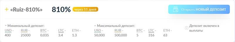 Инвестиционные планы RuizCoin 6