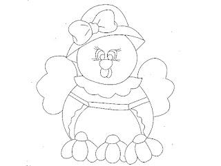 desenho de galinha com flores para pintar em tecido