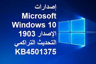 إصدارات Microsoft Windows 10 الإصدار 1903 التحديث التراكمي KB4501375