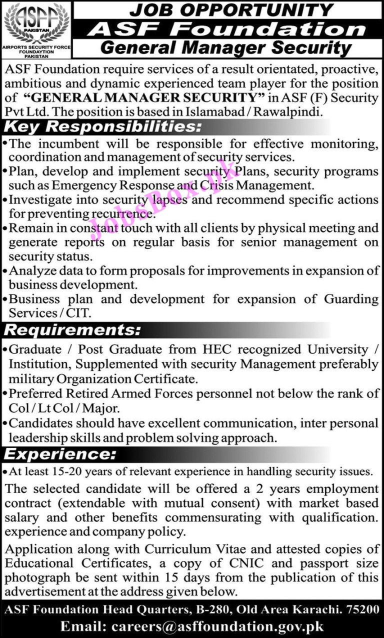careers@asffoundation.gov.pk - ASF Airports Security Force Foundation Jobs 2021 in Pakistan